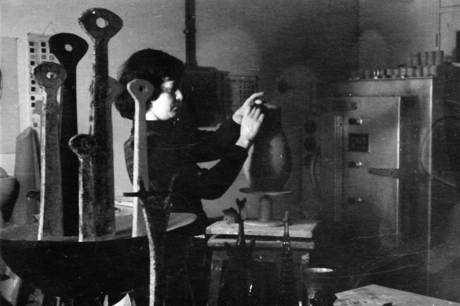 Lutgart de meyer at work in her studio 1955 c2a9 paul ausloos